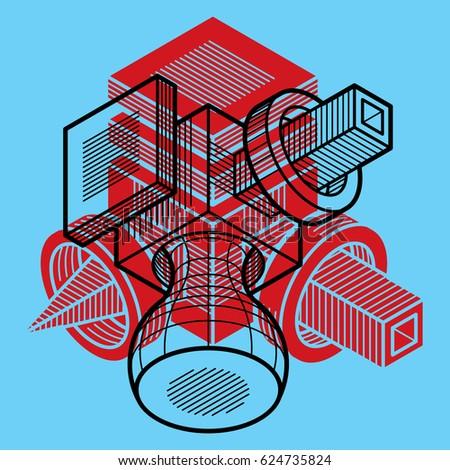 Engineering three-dimensional construction, abstract trigonometric shape.