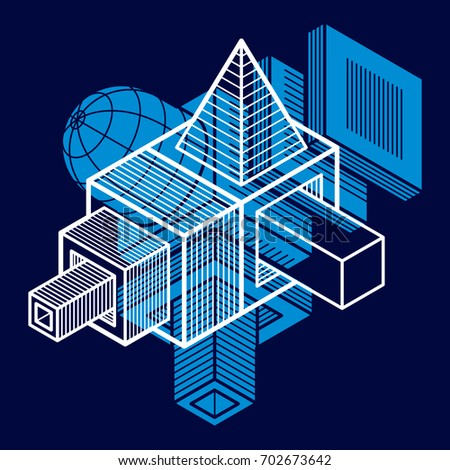 Engineering three-dimensional construction, abstract trigonometric shape.