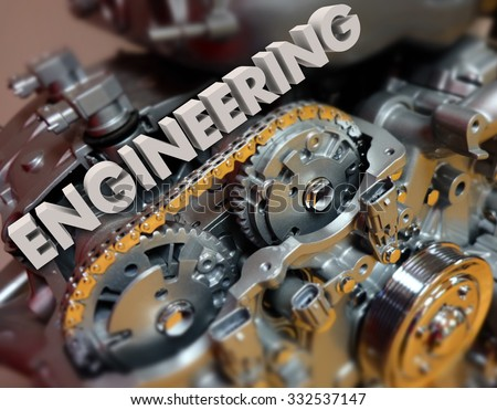Engineering word in 3d white letters on a car, automobile or vehicle engine or motor to illustrate technology, power and precision #332537147