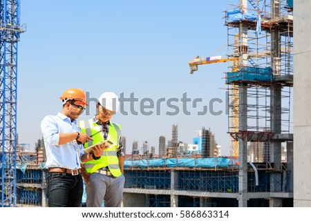 Engineers are working on building high-rise buildings.