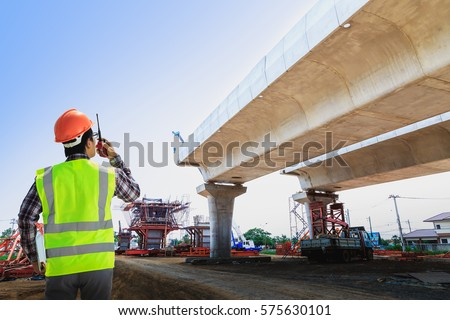 Engineers are working on road construction stock photo