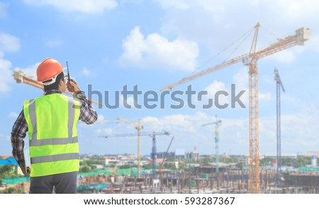 Engineers are working on the construction site.
