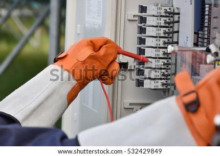 Engineers checking solar panels #532429849