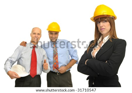 Engineers team isolated against a white background