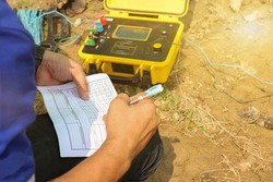 Engineers use earth resistivity testers. To test in a substation
