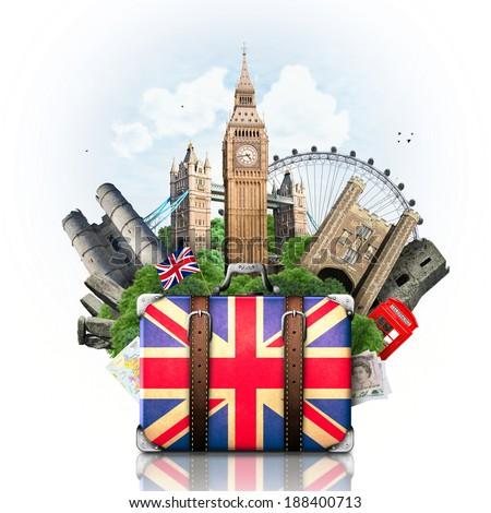 England, British landmarks, travel and retro suitcase #188400713