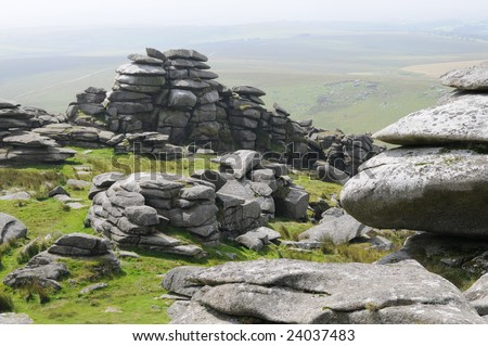 England, Cornwall, Bodmin Moor, Stone Formation, Landscape - stock photo