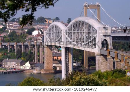 England, Cornwall, Devon, West Country, Saltash, Tamar, Brunels rail bridge
