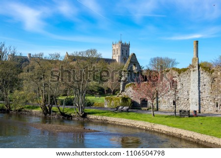 England Dorset Christchurch April 28, 2016 The river Avon, Norman house and priory