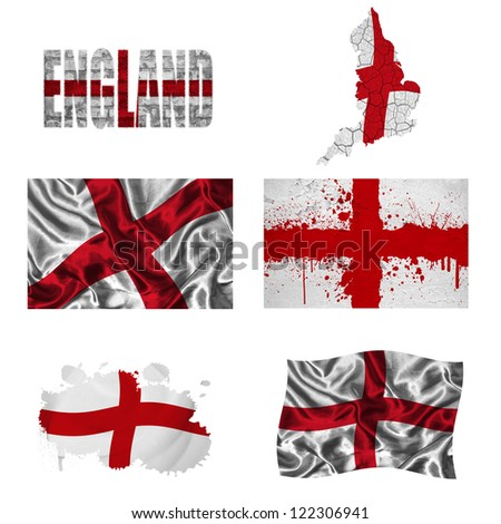 England flag and map in different styles in different textures