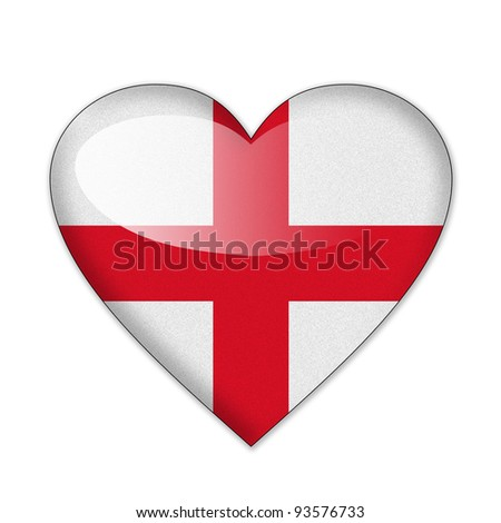 England flag in heart shape isolated on white background