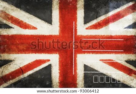 England flag on old postcard ,retro style