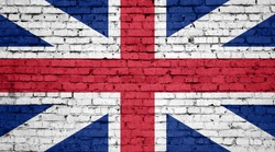 England flag painted on a brick wall