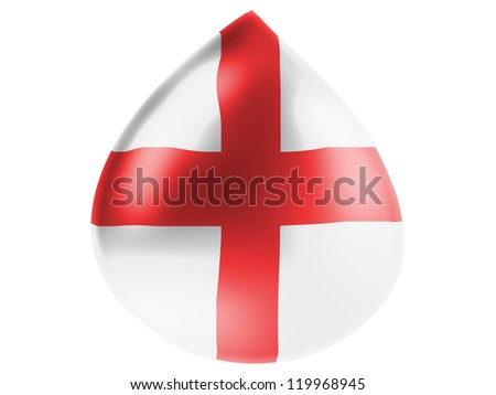 England flag painted on 3D water drop