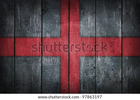 england flag painted on old wooden wound