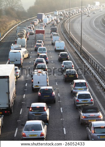 England January 2009:traffic jam on one side of M40 in Buckinghamshire