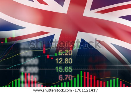 England Stock market and forex indicator trading graph with British flag. Stock exchange London chart business growth finance crisis economy coronavirus recovery 2020