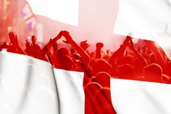 england supporters - double exposure of England flag and football fans celebrating victory