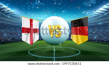 England vs Germany. Soccer concept. White soccer ball with the flag in the stadium, 2021. 3d render