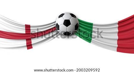 England Vs. Italy soccer match. National flags with football. 3D Rendering Foto stock ©