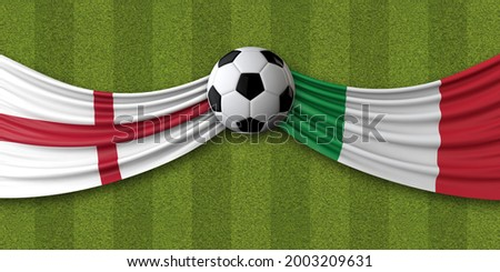 England Vs. Italy soccer match. National flags with football. 3D Rendering Foto d'archivio ©