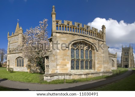 england worcestershire the historic market town of evesham Churches of All Saints and St Lawrence and Abbot Lichfield s 16th Century Bell tower - stock photo
