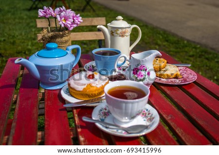 English afternoon Tea & Cake for two with pastry #693415996