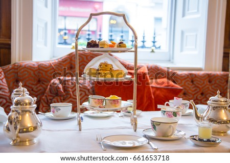 English afternoon tea desserts with beautiful breakfast snacks and english tea. #661653718