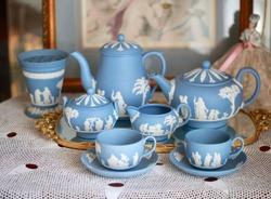 English Afternoon Tea Porcelain Wedgwood Jasperware Set / Antique Collector Dealer Display / Tea pot cup Saucer Sugar Cream Vase / Tea Party catalogues photo shooting/