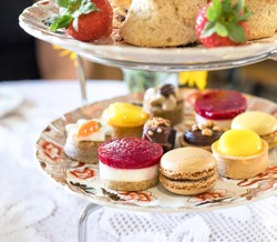 English Afternoon Tea with cakes and sandwiches.
