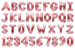 English alphabet and numbers made of pink golden inflatable helium balloons isolated on white. Rose gold foil balloon font, full alphabet set of upper case letters and numbers