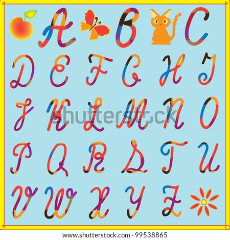 English alphabet for children with colorful letters