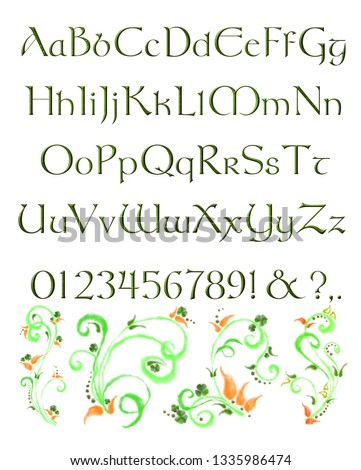 English Alphabet in Green Celtic Type and Floral Decorative Swirls. decorative Font for Print, Banner, Card, Poster, Advertisement, Announcement, etc.