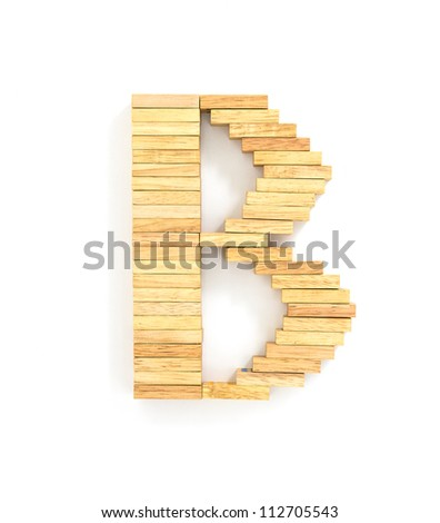 english alphabet  letters from wooden domino on white background, letter B