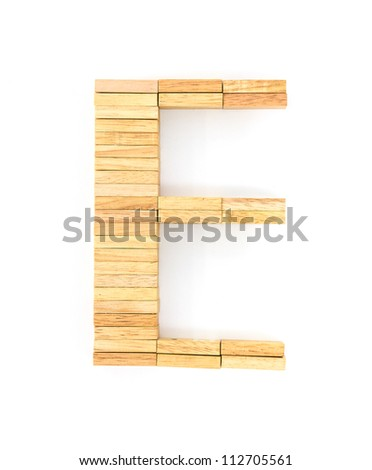 english alphabet  letters from wooden domino on white background, letter E