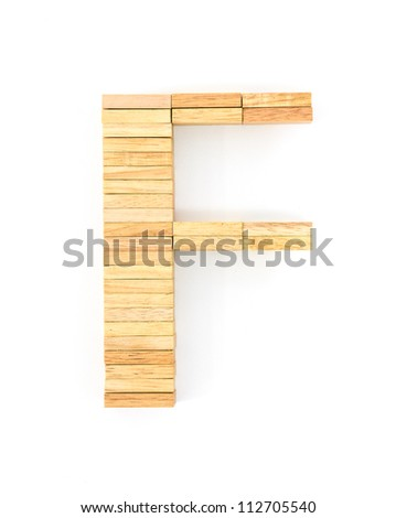 english alphabet  letters from wooden domino on white background, letter F