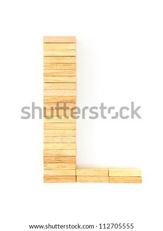 english alphabet  letters from wooden domino on white background, letter L
