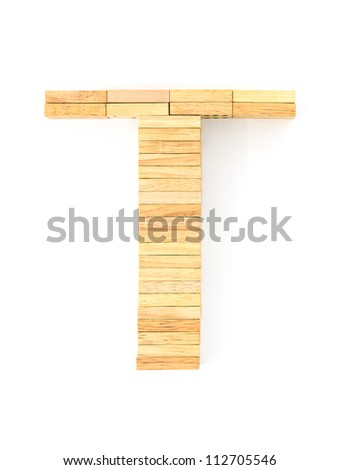 english alphabet  letters from wooden domino on white background, letter T