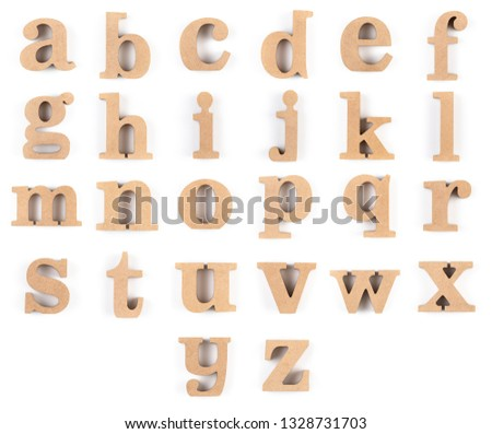English alphabet letters isolated on white background, Collection of alphabetical order from A to Z in lower case font and made of thick wood #1328731703