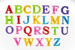 English alphabet on a white background, top view.