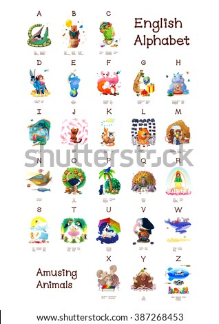 English Alphabet series of Amusing Animals. All 26 letters in one Poster file. Woodland Animals. Cartoon illustration Animals for letters. A B C D E F J H I G K L M N O P Q R S T U V W X Y Z   Stock fotó ©