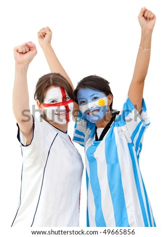 English and argentinean football fans celebrating isolated over a white background