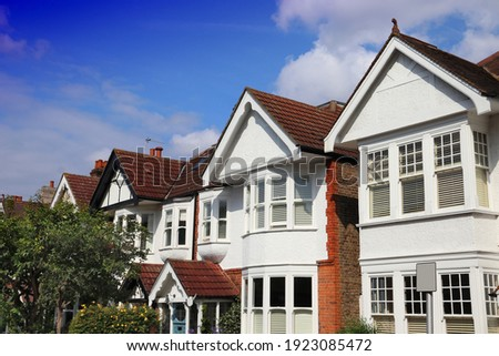 English architecture. Kew, London. Houses street view in residential district of London UK.