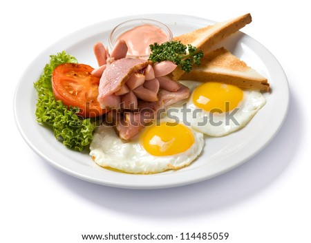 english breakfast isolated high angle view, with clipping path