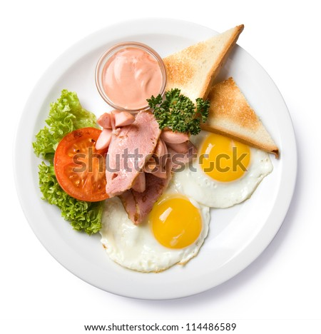 english breakfast isolated top view, with clipping path