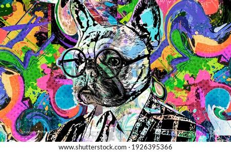 english bulldog portrait intellectual art