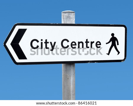 English city centre direction sign.