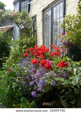 English cottage garden - stock photo