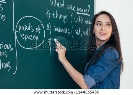 English courses. Language school. Teacher writing on chalkboard.