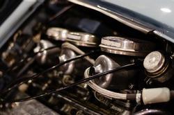 English engine bench with SU carburetors